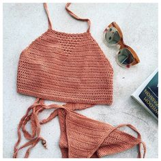 Crochet bikini + mirrored sunnies