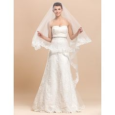 One Layers Chapel Wedding Veil With Lace Applique / Finished Edge – USD $ 89.99