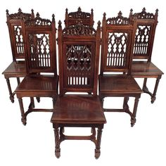 set of 8 high-backed dining chairs, jacobean revival style, in