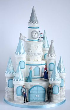 "Frozen Cake"" Corinne's mum wanted a more traditional castle for a more princessy feel, but I added a touch of sparkly snowflakes to make it to this year's most wanted theme, Frozen. The whole castle cake was based on McGreevy Cakes's free. Disney Frozen Castle, Frozen Castle Cake, Frozen Theme Cake, Castle Cakes, Disney Castle Cake, Frozen Birthday Party, Castle Birthday Cakes, 4th Birthday, Elsa Birthday Cake"