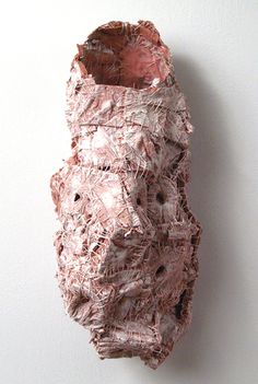 Elisa D'Arrigo  Reconstructed (5), 2009  handmade paper, thread, acrylic paint, marble dust  18 x 18 x 8 inches