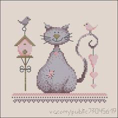Este lindo gráfico deste gato fofo com seus amiguinhos passarinhos é um projeto lindo e simples de fazer.