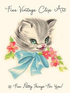 Clip Art: Free Vintage Kitty Image - Free Pretty Things For You. Vintage Cat, Vintage Images, Kitty Images, Vintage Greeting Cards, Vintage Ephemera, Vintage Postcards, Cat Party, Free Graphics, Print Pictures