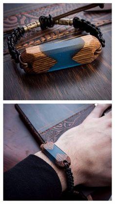 Futuristic exotic wood and resin bracelet in a unisex, modern, minimalist, geometric style