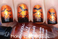 Batty for Halloween? Orange metallic nail polish paired with a bit of creative black bat brushwork - make a statement!