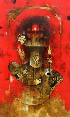 Amol Pawar's ongoing exhibition at Jehangir Art Gallery portrays the divine feminine creative potency. Durga Painting, Silk Painting, Indian Contemporary Art, Indian Art Gallery, Spiritual Paintings, Abstract Face Art, Indian Folk Art, Indian Art Paintings, Hindu Art