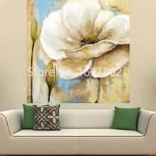 Hand Painted Modern Abstract White Flower Art Oil Painting On Stretched Canvas For Living Room Wall Quadro(China (Mainland))