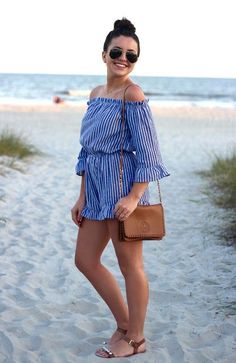 Sun's out, shoulders out! We love this ruffled romper for a day at the beach on Emerald Isle!