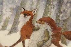 ARABIA Lennart Helje Fox and Gnome in original box Small decor plate Rare find Tonyyu and Kettu Walking together in white winter forest