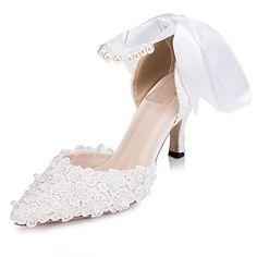 KADIN - Topuklar/Sivri Uçlu - İnce Topuk - Dantel Pompalar / Topuklar ( Fildişi/Beyaz ) – USD $ 47.99