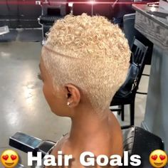 Style from of Plush Midtown in Atlanta, Georgia Short Bleached Hair, Natural Hair Short Cuts, Short Natural Haircuts, Tapered Natural Hair, Short Hair Cuts, Natural Hair Styles, Short Platinum Blonde Hair, Blonde Twa, Short Blonde Pixie