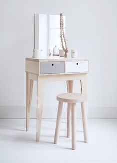 RUNO. a plywood, scandinavian vanity / dressing table. * designed by Wood Republic Runo is mysterious and proud a piece of furniture. It takes a huge effort to earn her recognition. Its a dressing table with a great love for gold knickknacks, however, the priority for her is a good