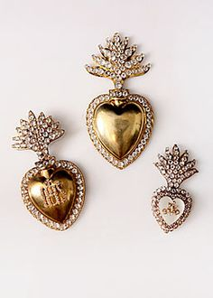 French Antique Gilt Brass Ex-voto Sacred Heart with Cut Glass Stones