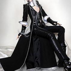 Brilliant Coole Langarm Schwarz Uniform Stoffpuppe Cosplay Punk Lolita Outfit - EUR € 123.74