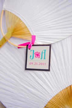 Wedding Fans Photographer: Lumiere Hawaii Coordinator: Couture Events (Maui) www.coutureeventsmaui.com