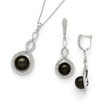 Sterling Silver Majestik 10-12mm Balck Shell Bead and CZ Earring & Necklace Set