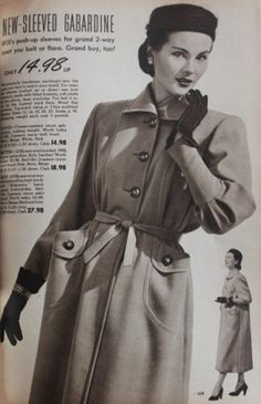This is a trench coat that was really popular back to 1950. It gives a sophistication and feminine look to the outfit. In 1950, The trench coat is mainly coming in two styles with a single or double breast.It has two pockets, with a lapel collar, with a belt that demonstrate the small waist.This outfit also matches with a Jockey style hats. Back to 1950, they are more likely to wear a brighter color coat and the length of the coat were longer. Chante Ho Week 11 3/23check