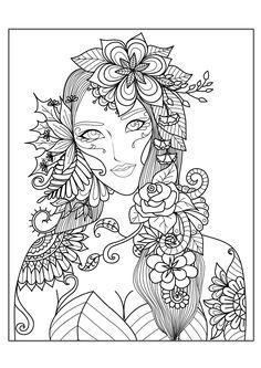 Colorear para adultos : Anti-stress / Zen - 116 - Esta imagen contiene : Cara, Mujer, SalirDesde la galería : Anti StressArtista : Bimdeedee