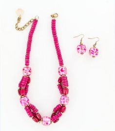 Magenta Stacked Wood Beads Necklace And Earring Set, $26