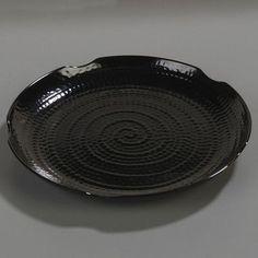 "Carlisle Food Service Products Terra Melamine Scalloped Textured Platter (Set of 12) Color: Black, Size: 18.5"""