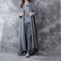 Casual loose long sleeve cotton linen coat