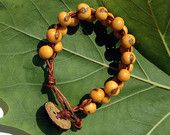 Organic Fairtrade Acai Bead and Braided Leather Bracelet with Real Coconut Button Honey Apricot Yellow