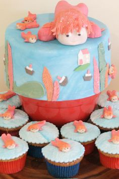 ponyo cake really want to make this for G's birthday but not sure how in the hell to get it done lol