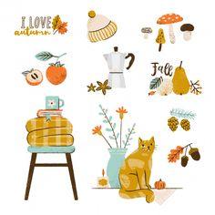 Conjunto de ilustração outono: cafeteira...   Premium Vector #Freepik #vector #flor #floral #cafe #livro Autumn Illustration, Coffee Illustration, Cute Illustration, Fall Drawings, Cute Drawings, Autumn Art, Autumn Leaves, Fall Candles, Autumn Inspiration