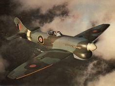 Hawker Tempest. Powered by a Napier Sabre engine that eventually produced 3500\BHP using 2 12 cylinder horizontally opposed engines, one on top of the other.   The Tempest did what it said in the packet. It also shot down over 800 V1 rockets.