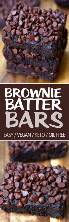 Chocolate Brownie Batter Bars (Vegan, Oil Free, Keto Option) - Ooey gooey rich and fudgy chocolate brownie bars (with a keto low carb option). A delicious vegan dessert Vegan Keto Recipes, Gourmet Recipes, Low Carb Recipes, Easy Recipes, Köstliche Desserts, Low Carb Desserts, Dessert Recipes, Dessert Bars, Vegan Sweets