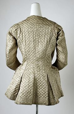 Quilted silk bed jacket (back), British, 1700-1750.