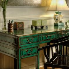 Emerald Green Lacquered Wooden Desk $1,995.00