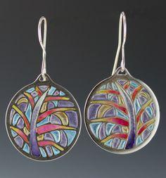 Sterling silver & enamel   plique-a-jour earrings by Sheila Wissner.