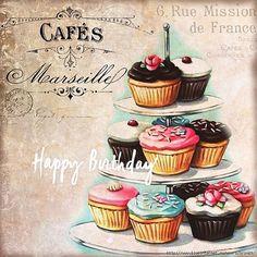 I wonder why? {vintage cupcakes print, cake plaque} jenny heid and aaron ni Cupcake Kunst, Cupcake Art, Vintage Labels, Vintage Ephemera, Vintage Posters, Vintage Retro, Vintage Floral, Decoupage Vintage, Vintage Paper