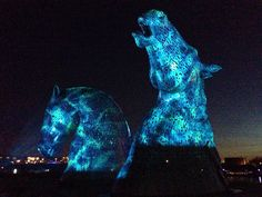 The Kelpies (30 metre high sculptures of Clydesdale horses in Falkirk, Scotland).