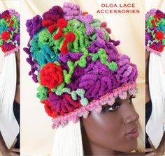 """Купить Вязаная шапка """"Рококо"""" от Olga Lace. Пряжа - Норо! - яркая шапка, вязаная шапка"""