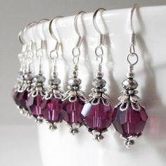Purple Bridesmaid Earrings Swarovski Crystallized Elements Amethyst Wedding Jewelry Sets Plum Bridal Jewelry Crystal Earrings Handmade