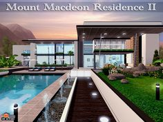 Mount Macdeon Residence II Found in TSR Category 'Sims 3 Residential Lots' Sims 4 Modern House, Sims 4 House Design, Casas The Sims 3, Sims 3 Houses Plans, Lotes The Sims 4, Sims Cc, Sims 4 Loft, Sims 4 Couple Poses, Casa Anime