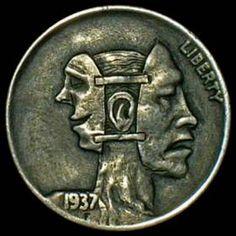 DAVID JONES HOBO NICKEL - 1937 BUFFALO NICKEL Hobo Nickel, Rare Coins, David Jones, Coin Collecting, Skull Art, Skulls, Buffalo, Cactus, Carving
