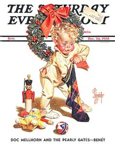 1938 JC Leyendecker Christmas Stocking Wreath Child Holly Wreath SEP Cover Only Norman Rockwell Christmas, Norman Rockwell Art, Norman Rockwell Paintings, Christmas Pictures, Christmas Art, Vintage Christmas, Xmas, Christmas Classics, Christmas Landscape