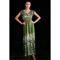 $10.06 Retro Style Plunging Neck Floral Print Long Bohemian Dresses For Women