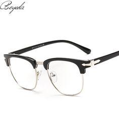 a3bcb199def Brand Half Frame Male Eyeglasses Women Spring Leg Vintage Men Eye Glasses  Frame Optical Spectacle Frame Prescription Eyewear