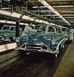 1950 Oldsmobile  on the assembly line.