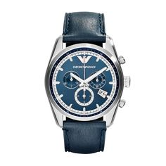 Amazon.com: Emporio Armani Unisex Chronograph Blue Leather Strap Watch 43mm AR6041: Watches