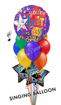 Youre Simply The Best Balloon Bouquet Balloons) Graduation Balloons, Birthday Balloons, Send Balloons, Balloon Delivery, Balloon Bouquet, Balloon Decorations, Bouquets, Singing, Good Things