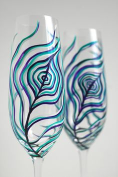 Feather Light Peacock Champagne Flutes-Set of 2 Wedding Toasting Flutes for $48 by Mary Elizabeth Arts