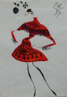 """Paris Haute Couture, Expo. L'Hôtel de Ville de Paris célèbre la Haute Couture du 6 mars au 6 juillet 2013. Christian Lacroix. Robe manteau """"Faena"""", automne-hiver, 1987/1988.   Peinture gouachée et encre noire sur papier (Galliera)."""