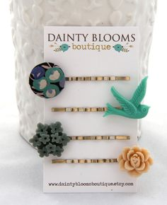 Set of 4 fabric button & flower bobby pins- hair accessories- Turquoise, Blue Gray, Linen- Liberty of London. $15.00, via Etsy.