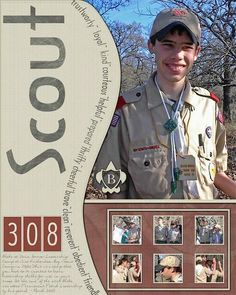 Boy Scout Layout - Love the one large pic & the little ones below - great for ceremony pictures.