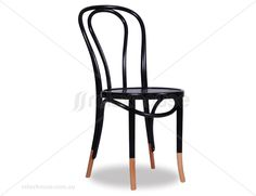 1014 Original European Made Bentwood Vienna 18 Chair Embossed Sunset Seat - Michael Thonet Designed - Black w Natural Socks